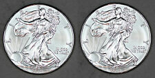 TWO 2014 UNCIRCULATED AMERICAN SILVER EAGLES, TOTAL 2oz .999 FINE SILVER (12/13)