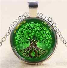 Green Celtic Tree Of Life Cabochon Glass Tibet Silver Chain Pendant Necklace
