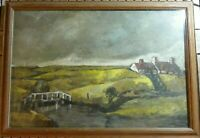 Old Original Landscape Oil Painting of Scotland with a croft and river.