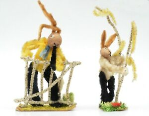 Lot of 2 Chenille Pipe Cleaner Rabbits East Germany DDR Easter Ornaments