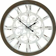 Large Round Wooden Wall Clock Interiors View Coastal Hamptons Industrial 60cm