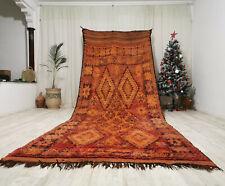 """Moroccan Bohemian Vintage Berber Rug 5'5""""x13'7"""" - Wool Antique Handmade Red Rug"""