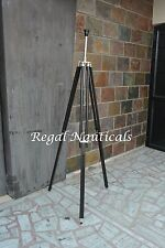 ROYAL DESIGNER NAUTICAL TRIPOD FLOOR LAMP BLACK WOOD LAMP SHADE TRIPOD STAND