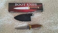 "Boot Knife Brown Wood Handle 6"" With Leather Sheath  New"