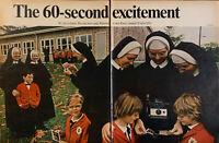 Vintage 1968 Polaroid 60 Second Camera Nuns 2 Page Print Ad Advertisement