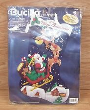"Vintage Bucilla (83118) ""Over The Rooftops"" 28"" Diagonal Jumbo Felt Stocking"