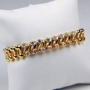 "18 kt Yellow Gold HEAVY 38.7 gram DIAMOND Flexible Link BRACELET 7"" A7840"