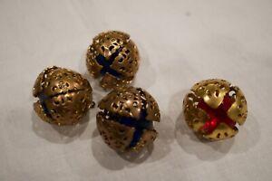 4 Antique Vintage Buttons Self Shank Filigree  Blue & Red Crystal Inside Rare