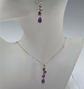 10k Yellow Gold Amethyst Necklace & Drop Earrings Set