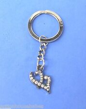 HOOTERS DOUBLE HEARTS WITH CLEAR SPARKLE STONES KEY RING KEYCHAIN