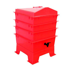 Pet & Dog Poo Wormery/Composter 4 Trays, Compost Bin (Red), 5 Year Warranty