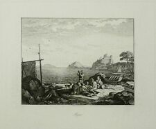 Adrian Ludwig richter-bajae/Baiae-Golfe de Naples-Gravure 1830