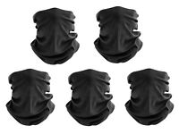 (5 Pack) Black Face Mask Bandanas Headband Shield Scarf Neck Gaiter Balaclava