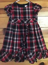 Hanna Andersson Plaid Dress EUC Girls Red Black White Ruffled Size 100 4