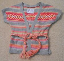 NWOT Justice Girls Aztec Cardigan Sweater Braided Belt Hot Pink Orange Size 6