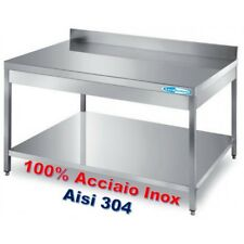 Tavolo In Acciaio Inox cm 160x60x85H + Ripiano e Alzatina Banco  Professionale