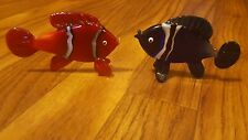 Set 2 glass clown fish decoration paperweights finding Nemo blue red