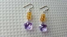 CITRINE, SWAROVSKI CRYSTAL AND STERLING SILVER EARRINGS.
