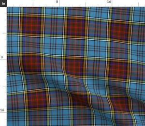Plaid Red Brown Gold Light Blue Tartan Scottish Spoonflower Fabric by the Yard