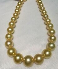 AAAA best  luster 18 '' 15-12 mm south sea golden pearl necklace 14k gold clasp