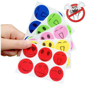 Smiley Face Anti Mosquito Bug Repellent Stickers Holiday Camping Insect Patches