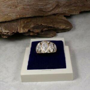 D28-83/ eleganter Diamant Ring in 585 GG gesamt ca. 0,5 ct. Gr. ca. 57