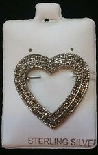 Vintage Marcasite and Sterling Silver Heart Shaped Brooch/Pin