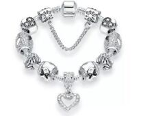 Pandora Inspired 925 Silver Plated Heart Charm Bracelet Crystal Jewelry 20cm