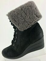 UGG Australia Winter Boots Zea Lace Up Black Shearling Wool Foldover Womens US 7