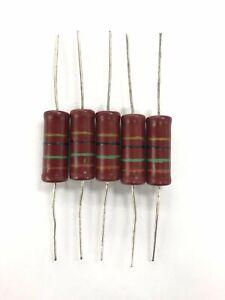 Lot of 5, PIHER 15 Ohm 2 Watt 5% Carbon Film Resistors