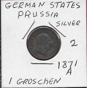 GERMAN STATES PRUSSIA 1 SILBER GROSCHEN 1871-A SILVER,RULER:WILHELM I,HEAD RIGHR