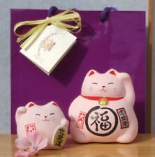Gift Bag - 2 Lucky cats pink for love - rounded & medium