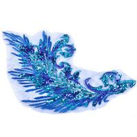 Pailletten Aufnäher Blau Patch Patchwork Pfauenfedern Gestickte Rock Kleidung
