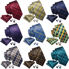 Plaids & Checks Mens Ties Necktie Set Red Black Blue Yellow Purple Silk Wedding