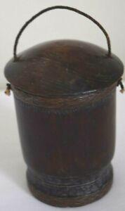 Vintage Bamboo Pot With Lid Junta Border Detail With Handle Sign Simpar