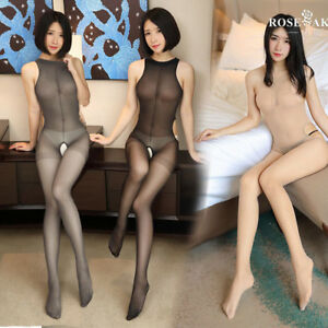 Women Bodystockings Sleeveless Sheer Pantyhose Open Crotch Tights Body Stockings