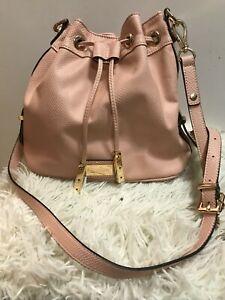Dune Soft Apricot/Pink/Nude Faux Leather Drawstring Shoulder Bag