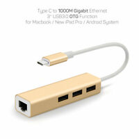 Type C to 1000Mbps Gigabit Ethernet RJ45 Network and USB OTG Adapter