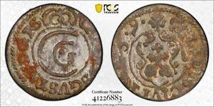 Livonia Riga under Sweden silver solidus 1659 PCGS UNC env damage