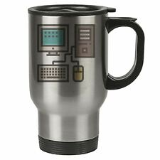 Geek Travel Mug - Desktop Pc Monitor Keyboard Mouse - Thermal Eco - Stainless St