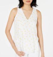 Maison Jules Womens Blouse White Size XS V neck Printed Button-Detail $49- 373