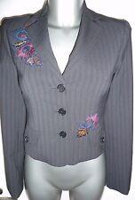 Fab BCBG MAXAZRIA  Black Stripe Embroidered Tailored Jacket Size XXS UK 6/8
