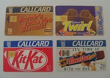 4 Irish 1990's telephone cards-Kit Kat,Time Out,Twirl,Jacob's Takes The Biscuit