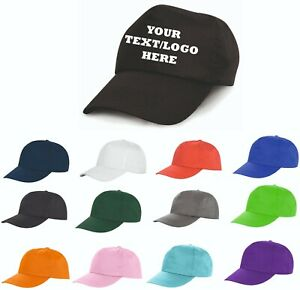PRINTED BASEBALL CAPS - Personalise with ANY TEXT or LOGO or IMAGE - Adult size