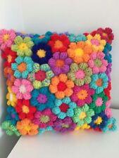 Cuscino, Rainbow uncinetto fiori, splendide... hand made i cuscini del divano
