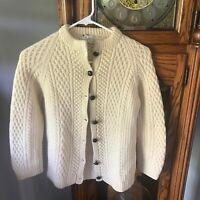 Vintage wool ladies cardigan Made in Republic of Ireland petite small Ivory