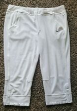 Sz L Women's Nike Training Pants Athletic White Drawstring Pockets Cropped