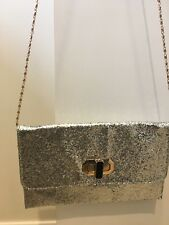 Glitter Silver bag clutch and chain handle with dial clasp Silver