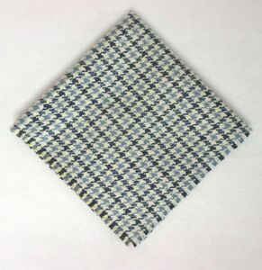 """USA Robert Talbott/Stinson R Ely 12"""" Navy Blue Plaid Matka Silk Pocket Square"""