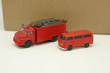 Wiking 1/87 HO - Lote de 2 Mercedes Camioneta + VW Combi T2 Bomberos Feuerwehr